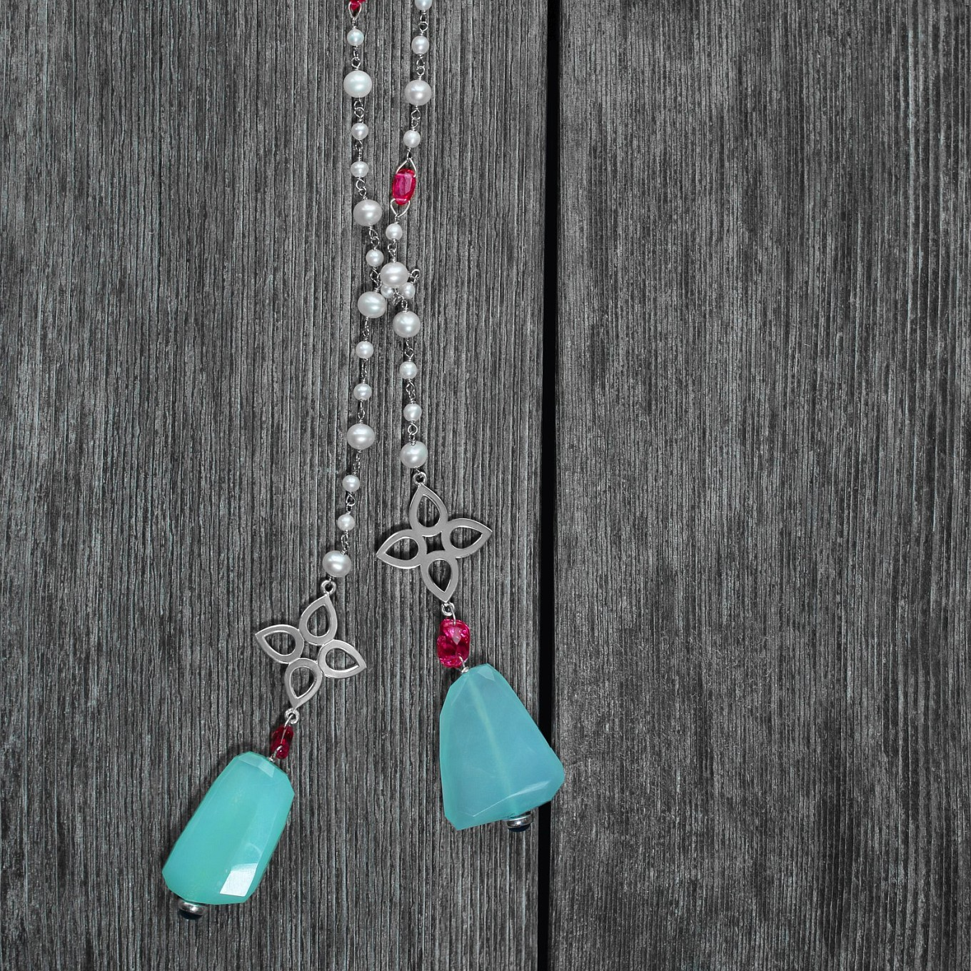 Unheated Spinel bead, Chrysoprase,  Apatite &  Freshwater pearl & Silver Lariat