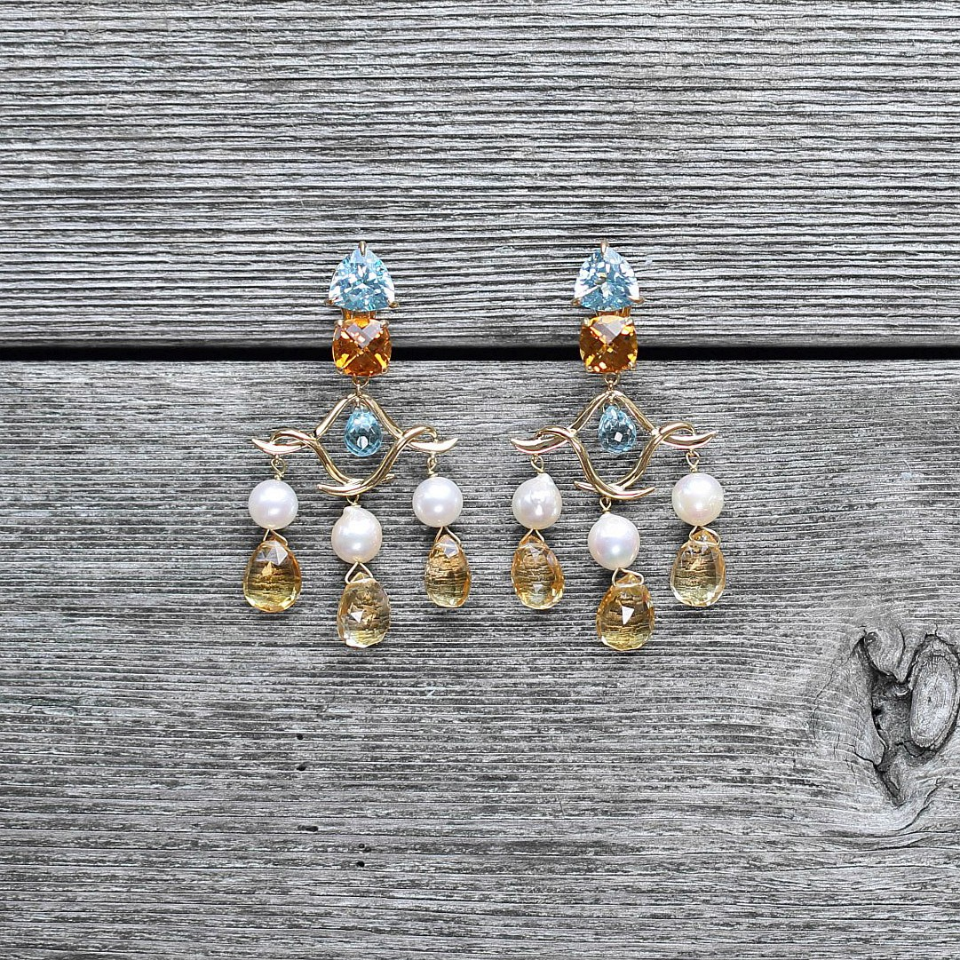"""Pagoda"" Citrine, Blue Topaz & freshwater pearl earrings in yellow gold"