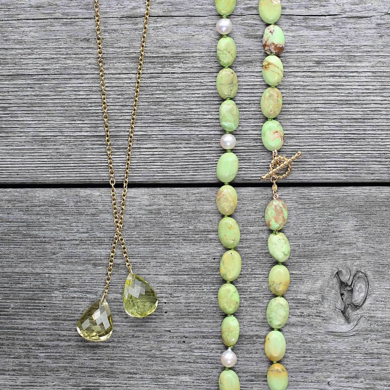 Lemon Citrine double drop necklace on handmade gold chain. - Green Turquoise ,  Freshwater Pearl opera length necklace with yellow gold braided bar clasp
