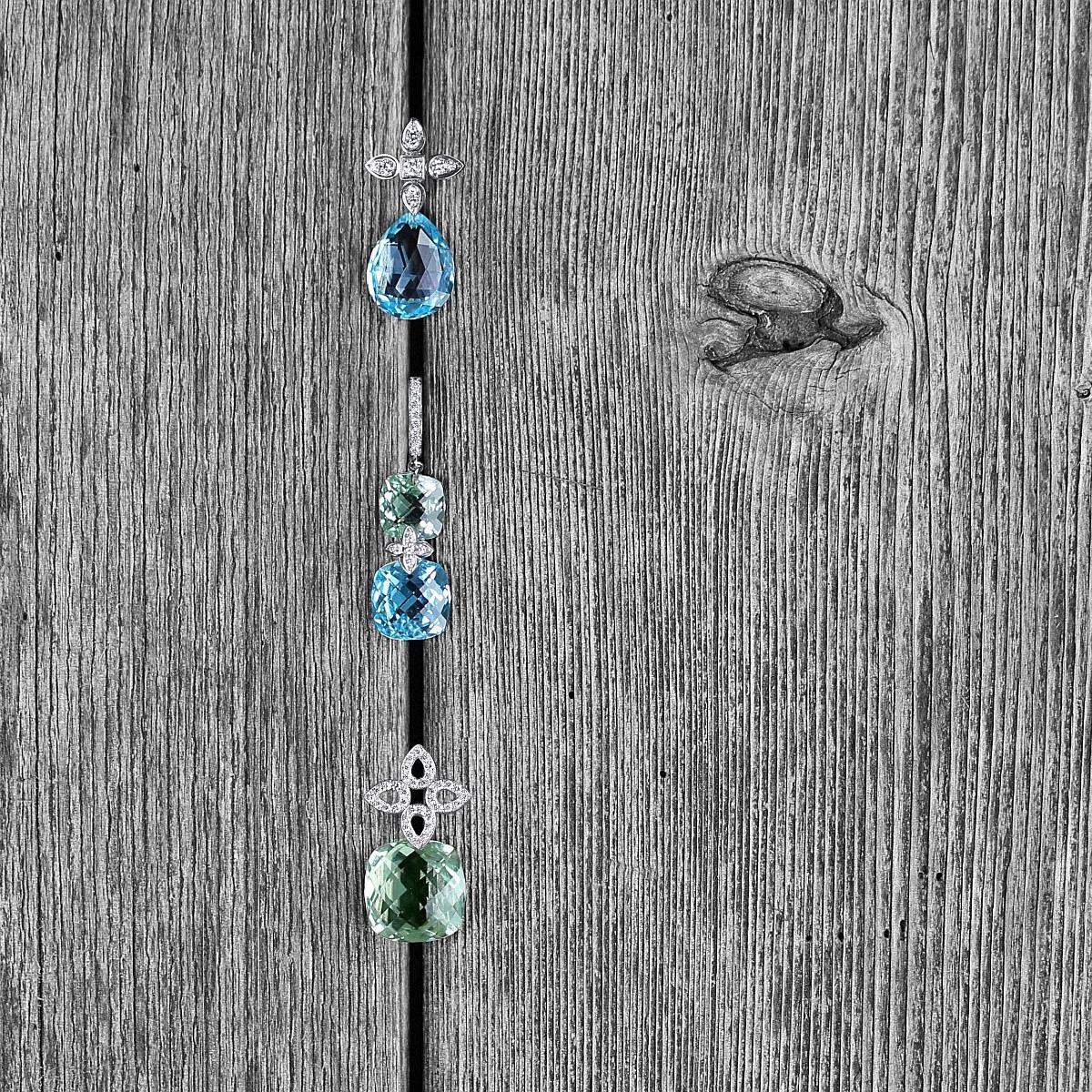 From top: Detachable pear shape briolette Blue Topaz drops & diamond Sevilla earrings in white gold. Blue Topaz drops. Sevilla diamond earrings - Cushion shaped green amethyst, blue topaz & diamond drop earrings. Detachable large Green Amethyst cushion briolette drop & flat Diamond Sevilla earrings -  Green Amethyst drops -  Flat Sevilla earrings