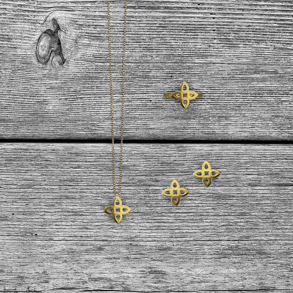 """Flat Sevilla"" Collection in Yellow Gold-  Ring -  Earrings -  Pendant"