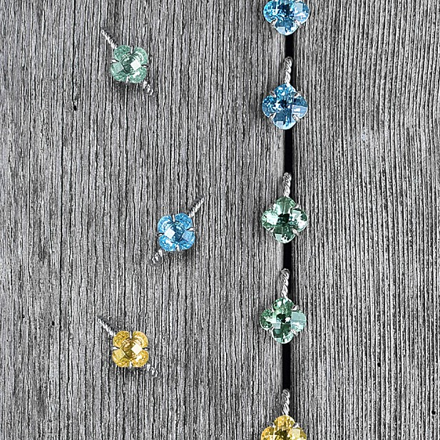 """Blue Topaz, Green Amethyst & Yellow Beryl large """"Clover Braid"""" Huggie Earrings & Rings in Sterling Silver -  Large earrings   Large rings  -Medium Earrings ( Not shown) & Rings"""