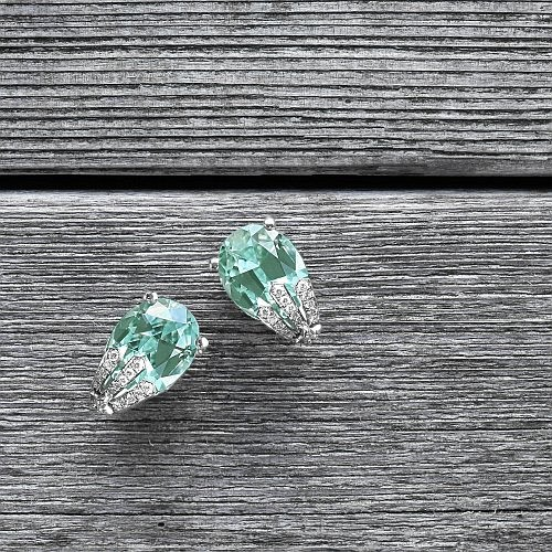 """Sophie"" 19.53 ct oval green tourmaline & diamond earrings in white gold"