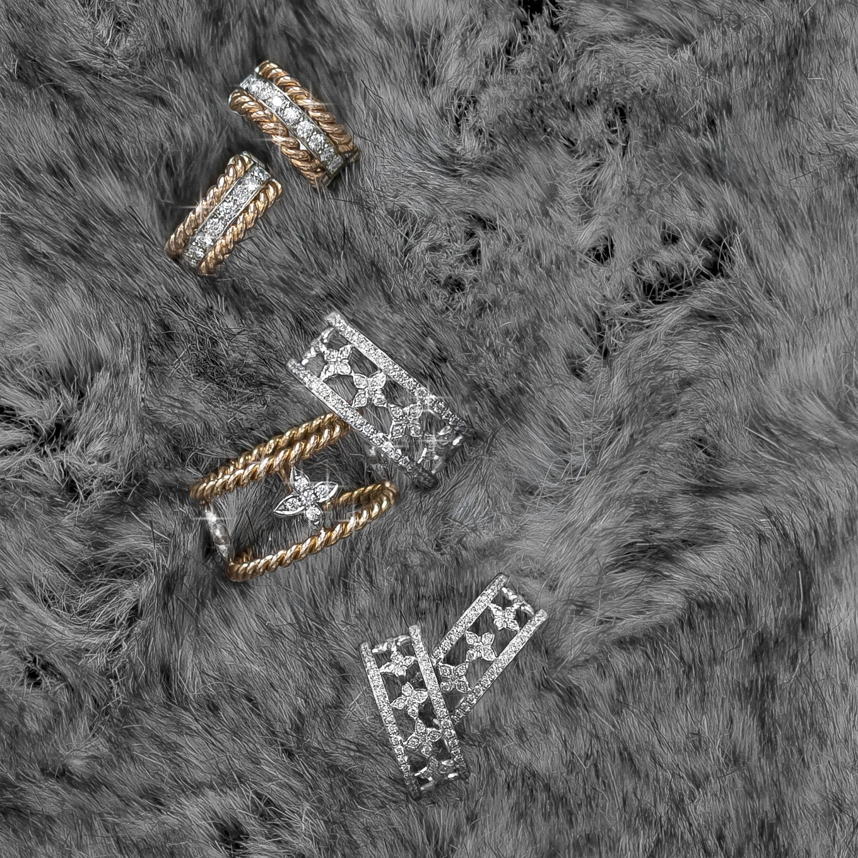 Braid diamond huggie earrings in yellow & white gold. Diamond Sevilla motif eternity band. Braid Sevilla gold & diamond ring.Sevilla diamond clip earrings.