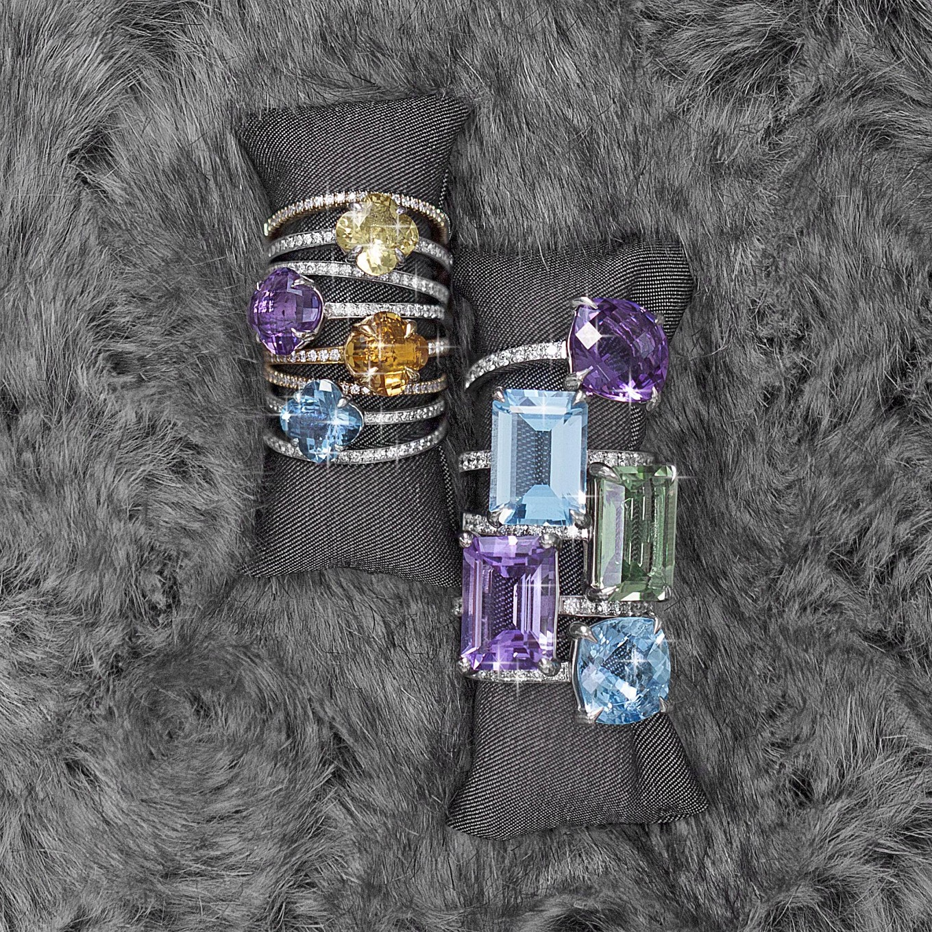 From left: Clover cut yellow beryl, citrine, amethyst, blue topaz & diamond rings - clover cut & diamond rings - shown with diamond eternity bands.  Emerald & cushion cut Blue topaz, amethyst, green amethyst & diamond rings.