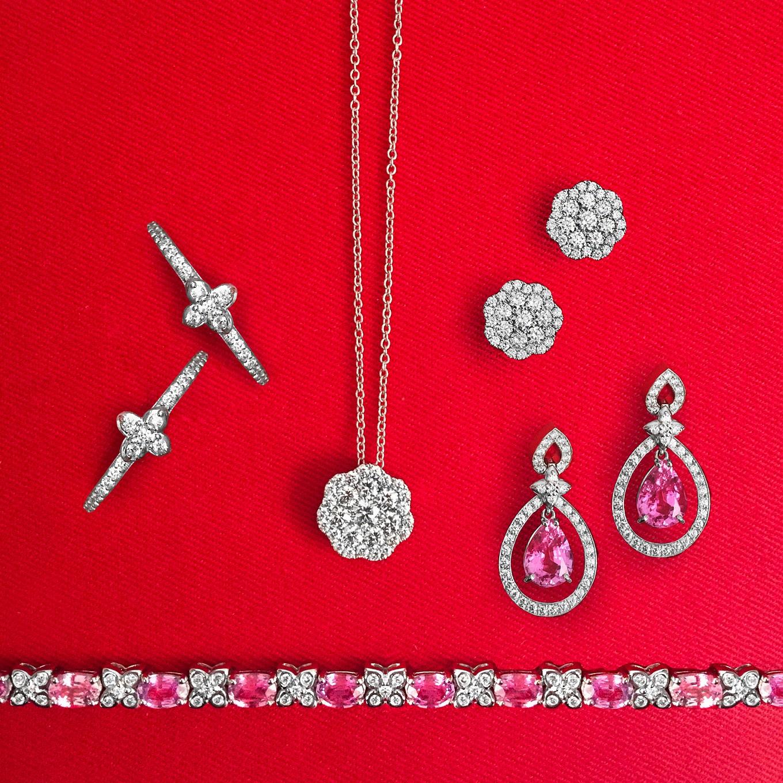 Sevilla Diamond hoopsDiamond cluster pendant & diamond earringsPink Sapphire & Diamond earringsPink Sapphire & Diamond bracelet