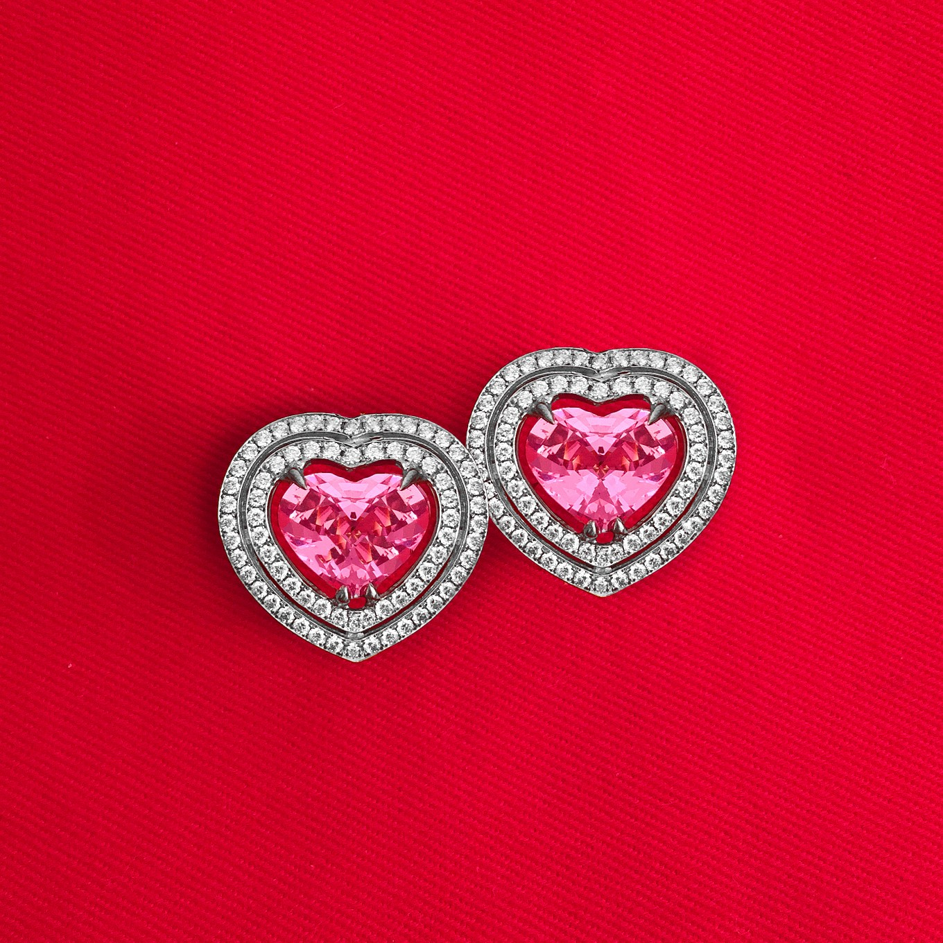 Pink Spinel & Diamond earrings - price on request.