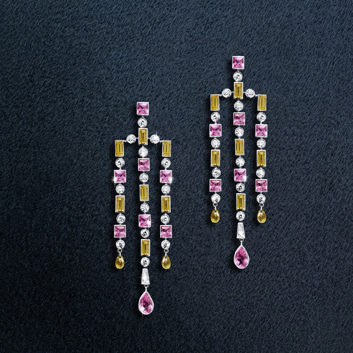 """Pink & yellow sapphire """"Deco"""" earrings with diamonds in white gold"""