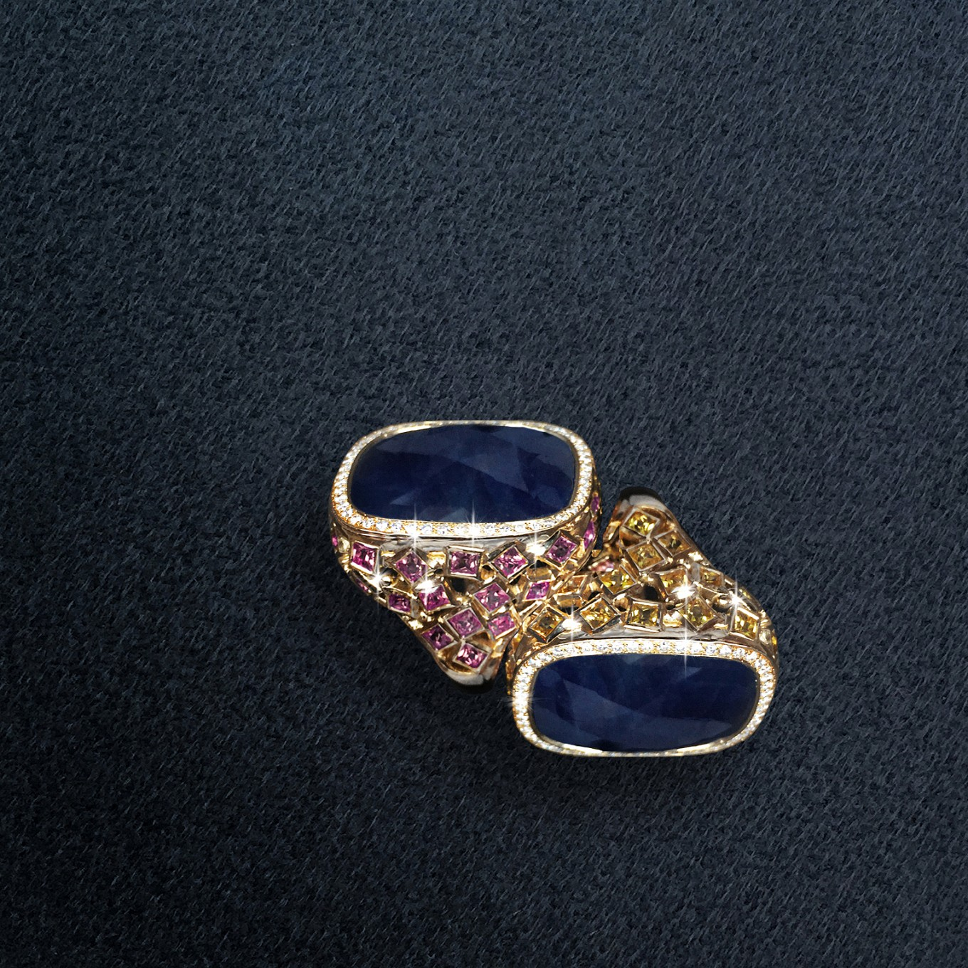 Rose cut blue sapphire rings with Yellow & Pink Sapphire square cuts in yellow gold