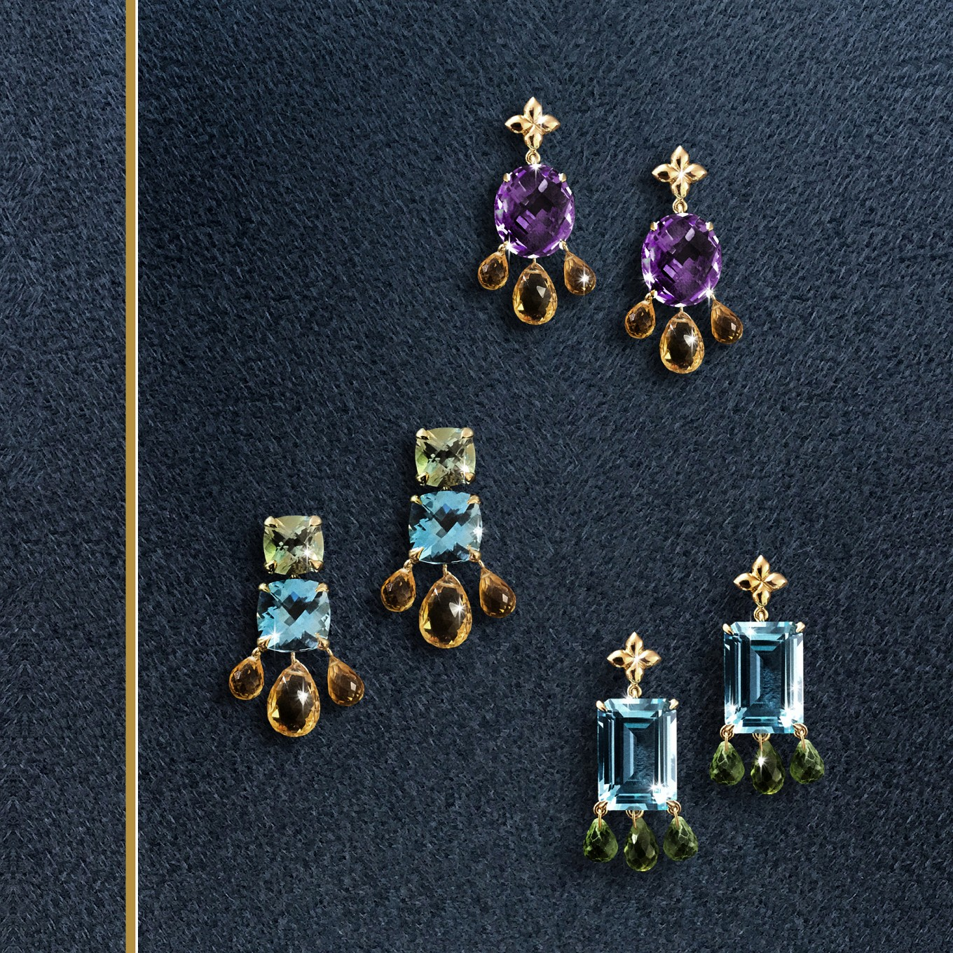 From topOval Amethyst & Citrine briolette earrings.Green amethyst blue topaz & citrine earrings.Emerald cut blue topaz & Peridot briolette earrings