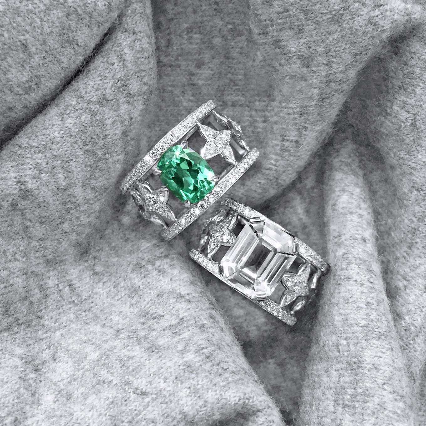 CUSHION CUT GREEN TOURMALINE & EMERALD CUT WHITE  SAPPHIRE & DIAMOND RINGS IN WHITE GOLD GREEN TOURMALINE 2.50 CTS DIA'S  0.97 CTS 12900 WHITE SAPPHIRE 5.15 CTS DIA'S  0.87 CTS  13500