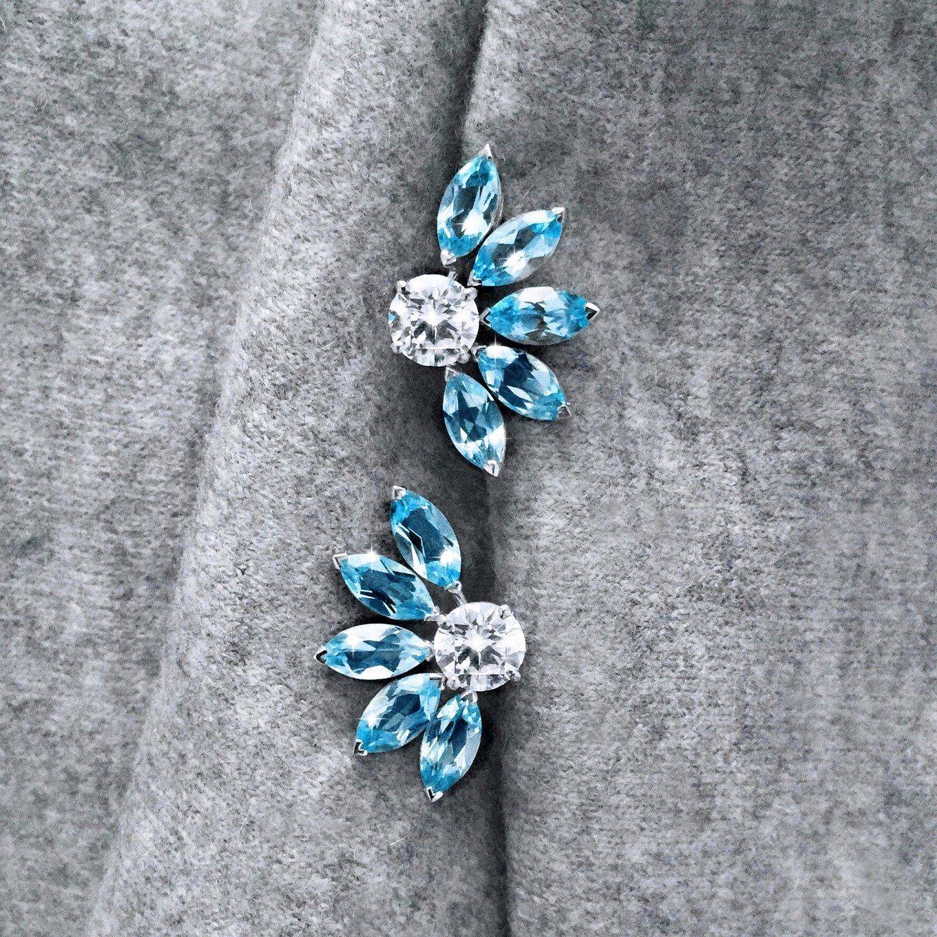 "G SERIES AQUAMARINE  ""FLARE "" EARRING JACKETS IN WHITE GOLDPAIRED WITHBRILLIANT CUT DIAMOND STUDS  -     TO ORDER - PRICE ON REQUEST"