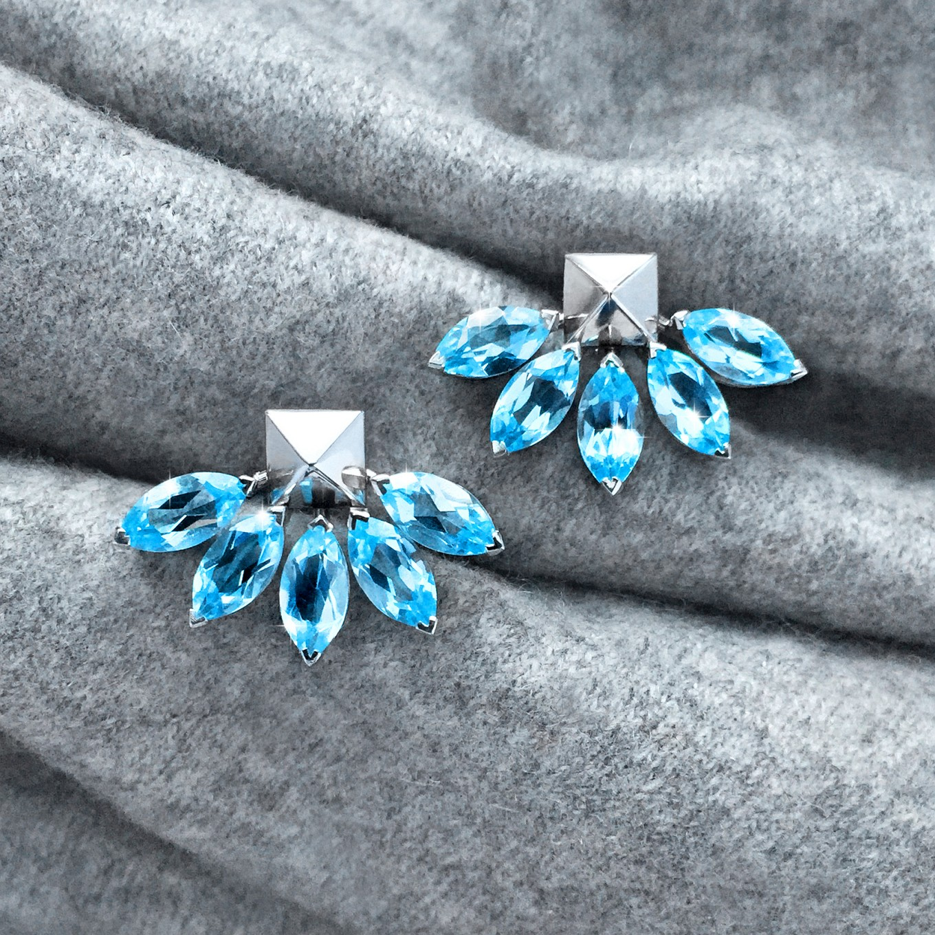 MARQUIS CUT AQUAMARINE FLARE EARRING JACKETS IN WHITE GOLD<br/>PAIRED WITH PYRAMID STUDS IN WHITE GOLD