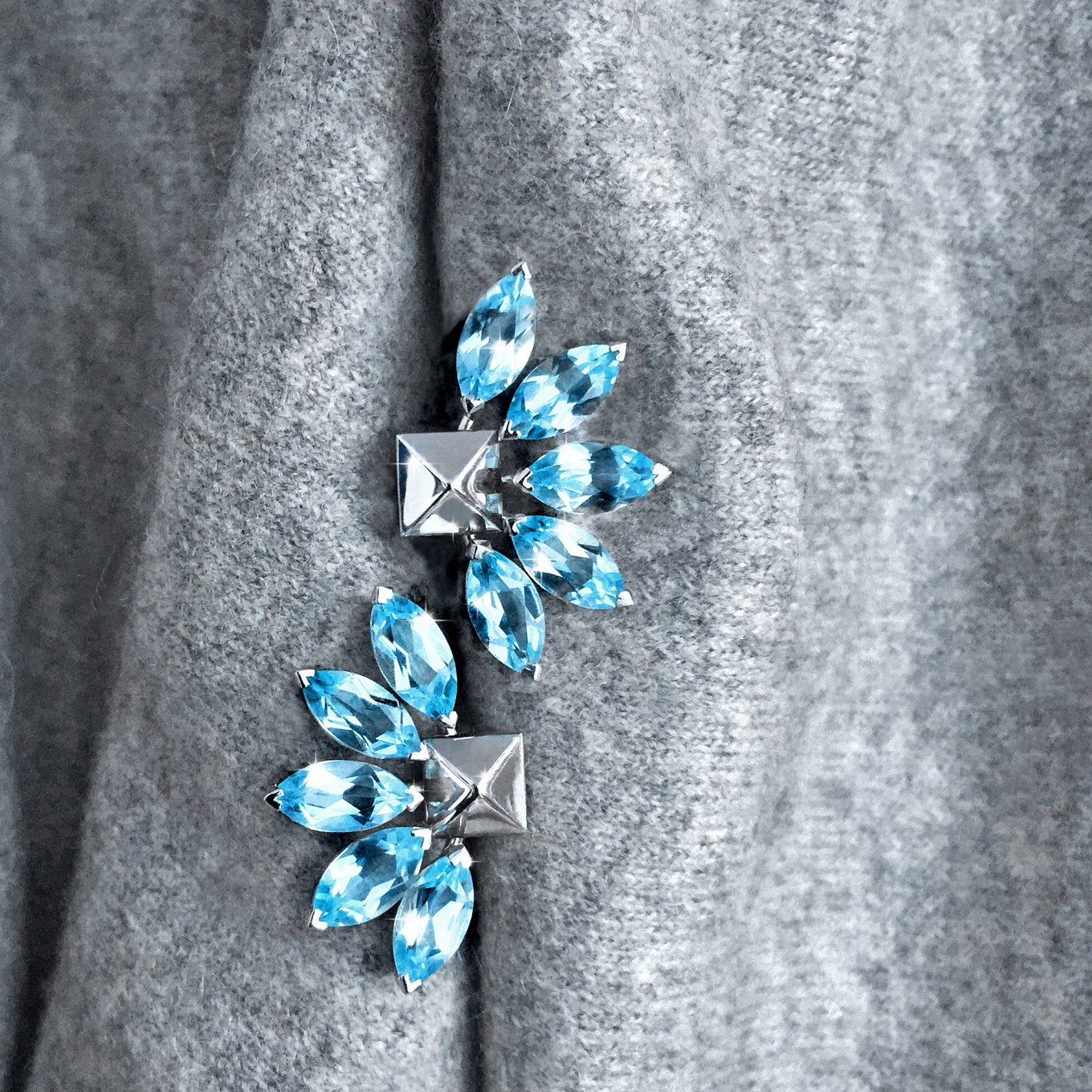 "G SERIES AQUAMARINE ""FLARE"" EARRING JACKETS  IN WHITE GOLDPAIRED WITHPYRAMID STUDS IN WHITE GOLD"