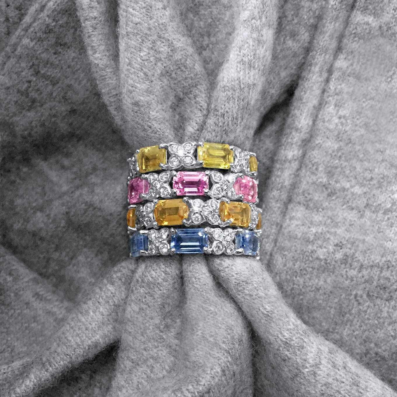 EMERALD CUT SAPPHIRE & DIAMOND SEVILLA MOTIF ETERNITY BANDS IN WHITE GOLD