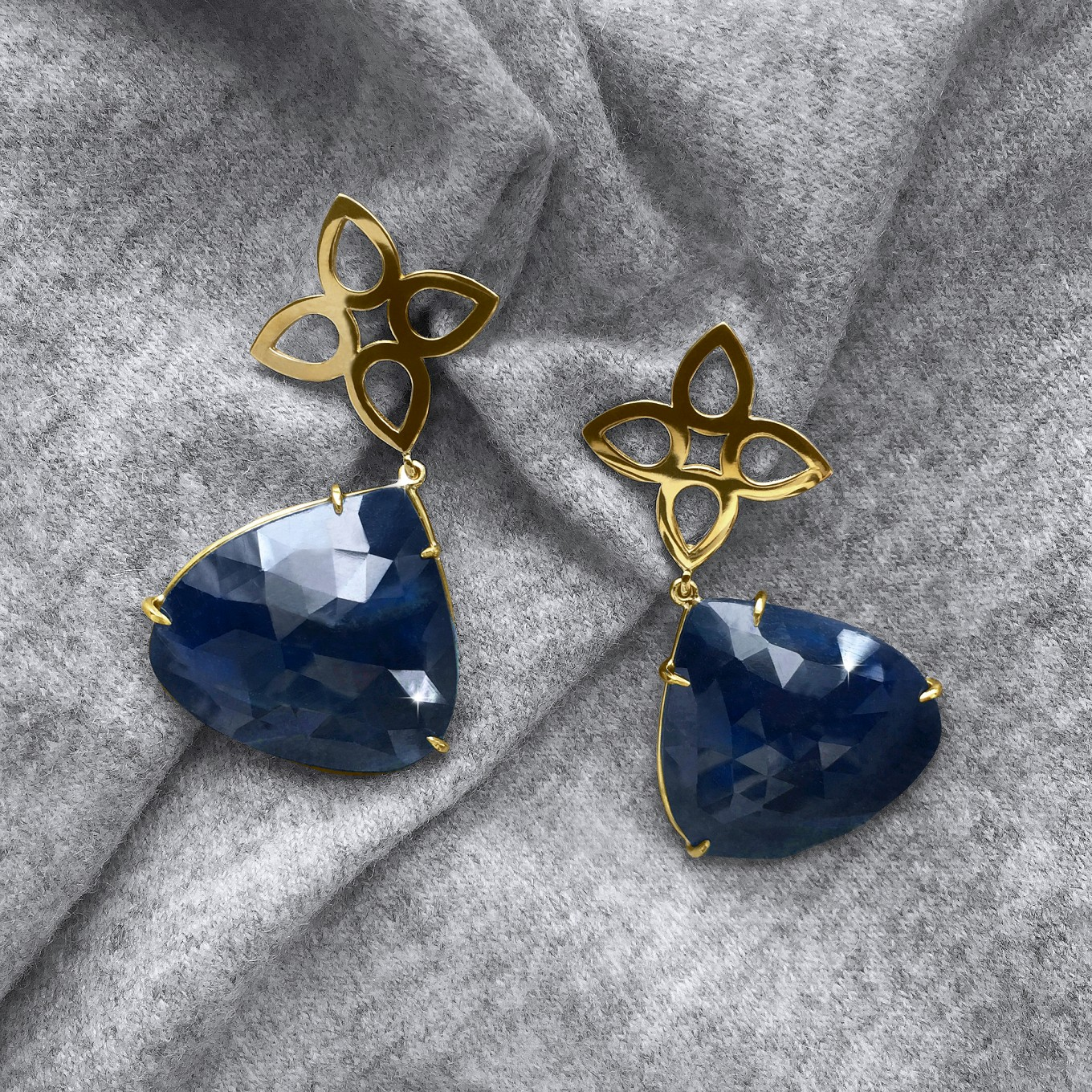 82.58CT ROSE CUT SAPPHIRE & WIRE SEVILLA MOTIF EARRINGS IN YELLOW GOLD