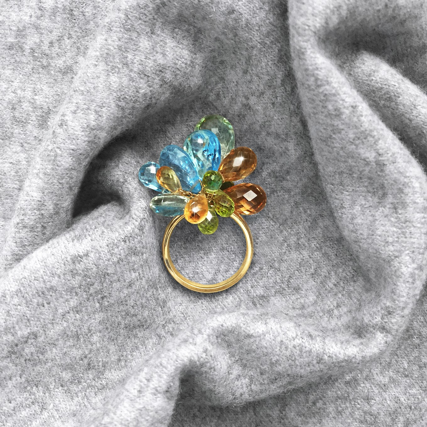 "MULTI GEM-STONE  BRIOLETTE ""POM-POM"" RING IN YELLOW GOLD"