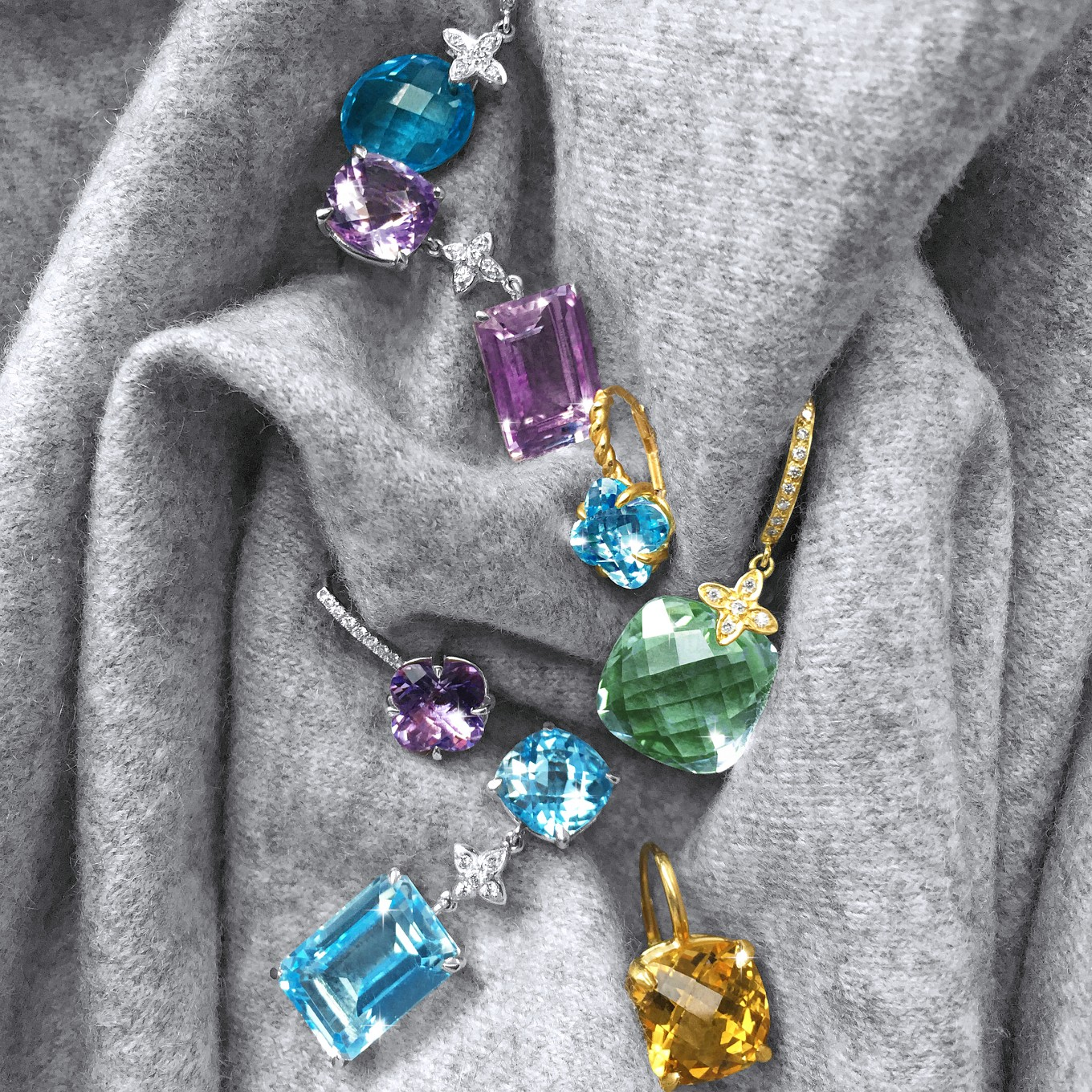 A SELECTION OF AMETHYST, CITRINE, BLUE TOPAZ & GREEN AMETHYST JdJ STUDIO EARRINGS IN WHITE  & YELLOW GOLD & DIAMONDS