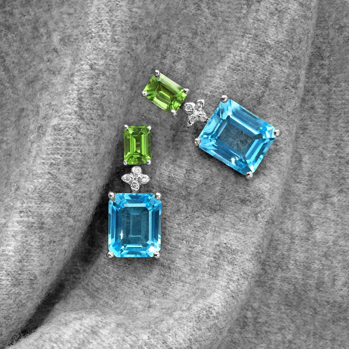 EMERALD CUT BLUE TOPAZ & PERIDOT EARRINGS WITH DIAMOND SEVILLA MOTIF  IN WHITE GOLD