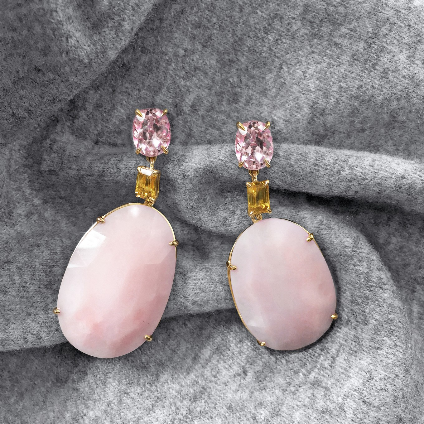 MORGANITE , YELLOW SAPPHIRE & ROSE CUT PINK OPAL EARRINGS IN YELLOW GOLD