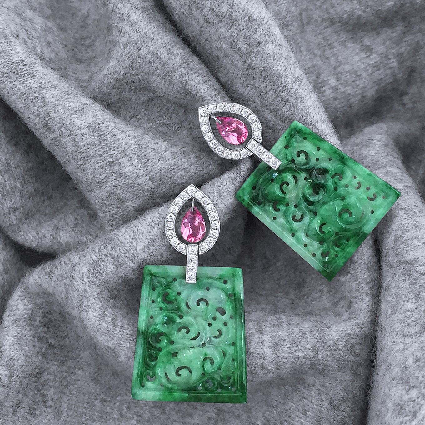 CARVED BURMESE JADE, PINK SAPPHIRE & DIAMOND EARRINGS IN WHITE GOLD