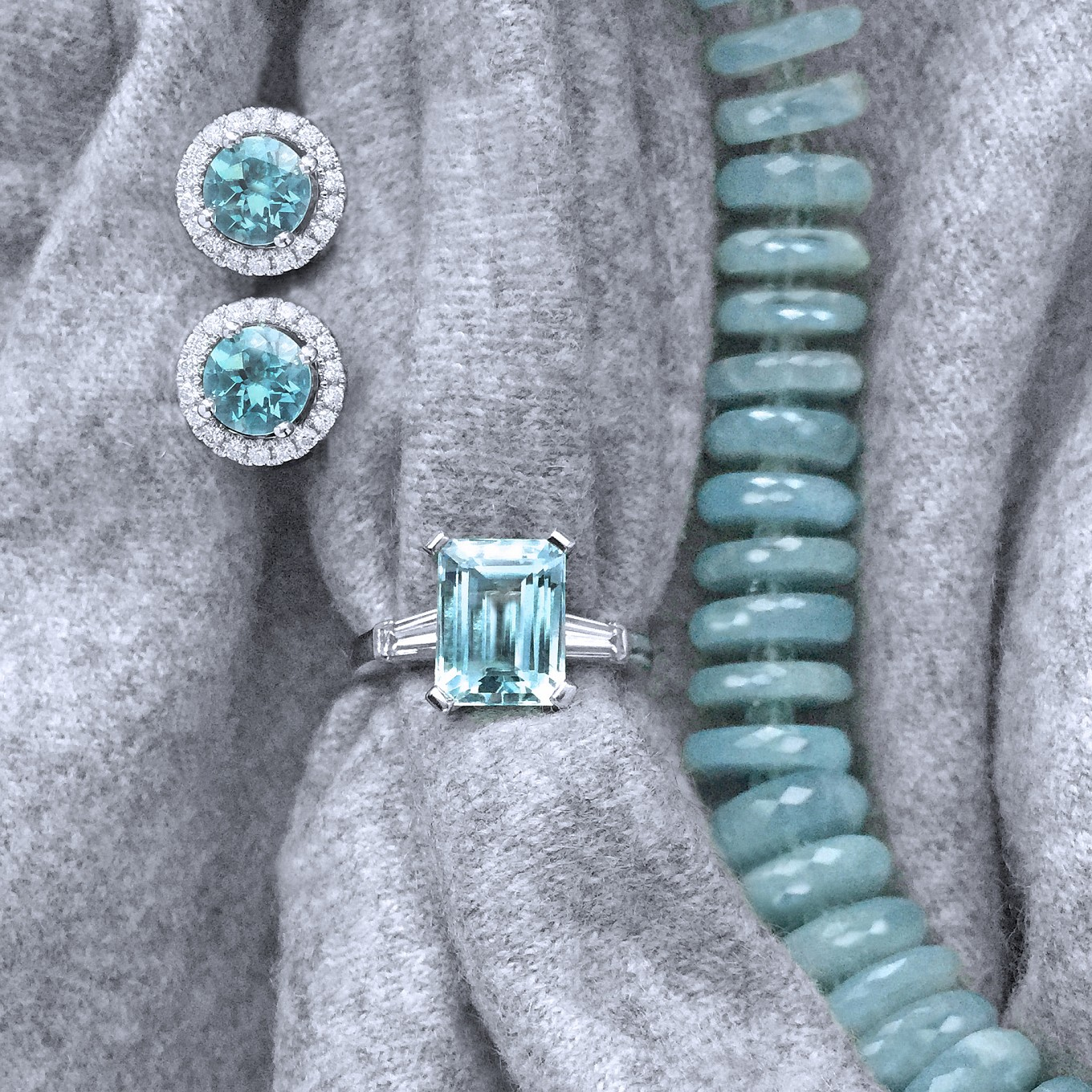 AQUAMARINE & DIAMOND STUDSEMERALD CUT AQUAMARINE &  TAPERED BAGUETTE DIAMOND RING  IN PLATINUMFACETED AQUAMARINE SLICE NECKLACE