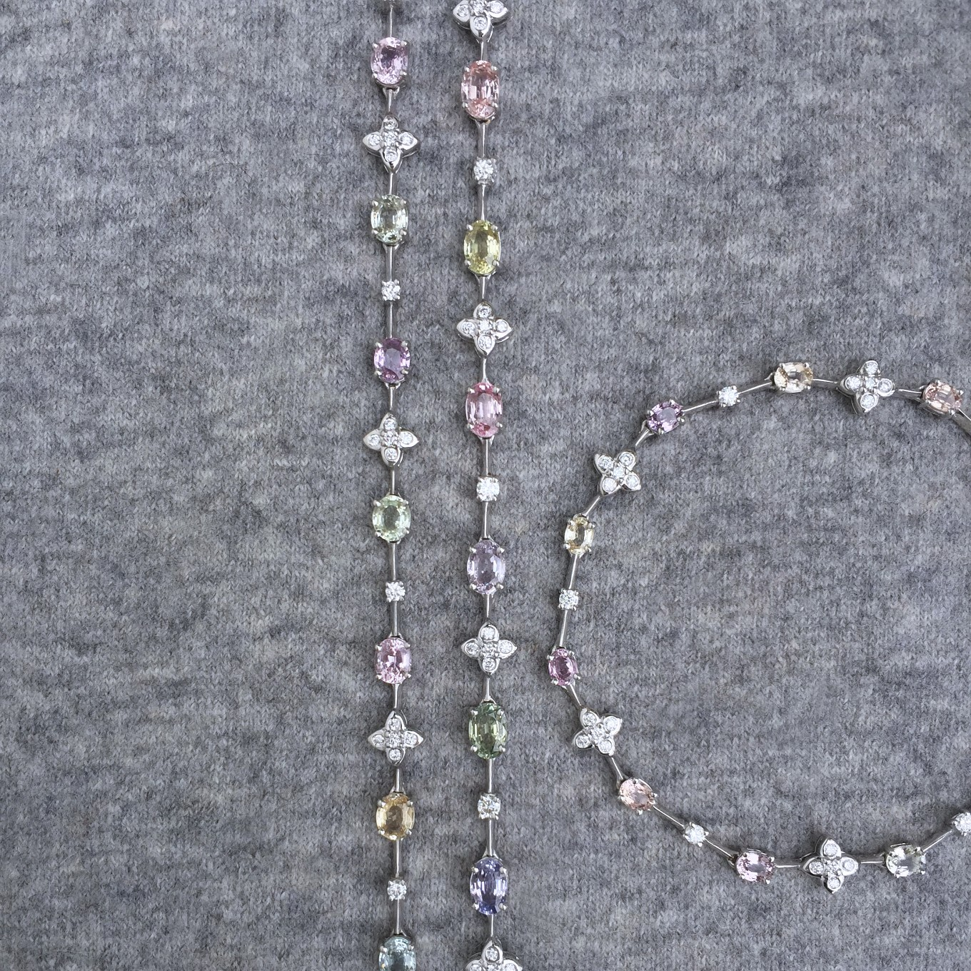 MULTICOLOURED PASTEL SAPPHIRE & DIAMOND BRACELET  & NECKLACE    PRICE ON REQUEST