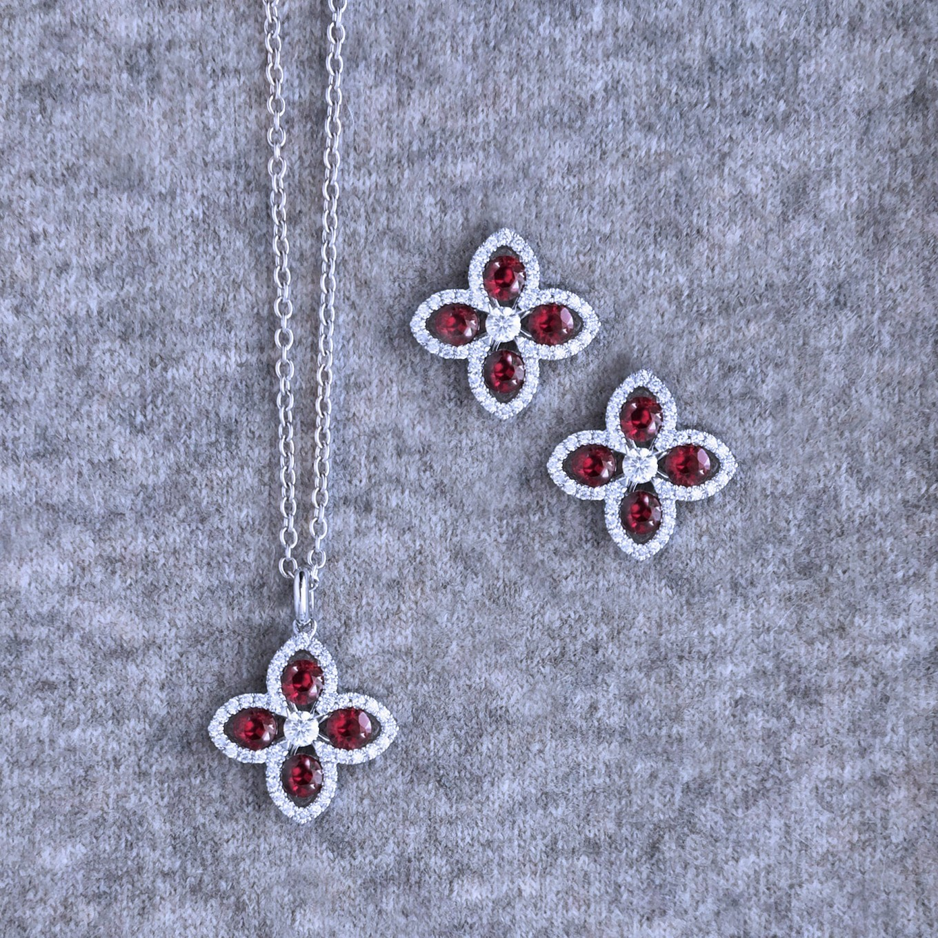 RUBY, EMERALD, SAPPHIRE DIAMOND SEVILLA MOTIF PENDANTS IN WHITE GOLD