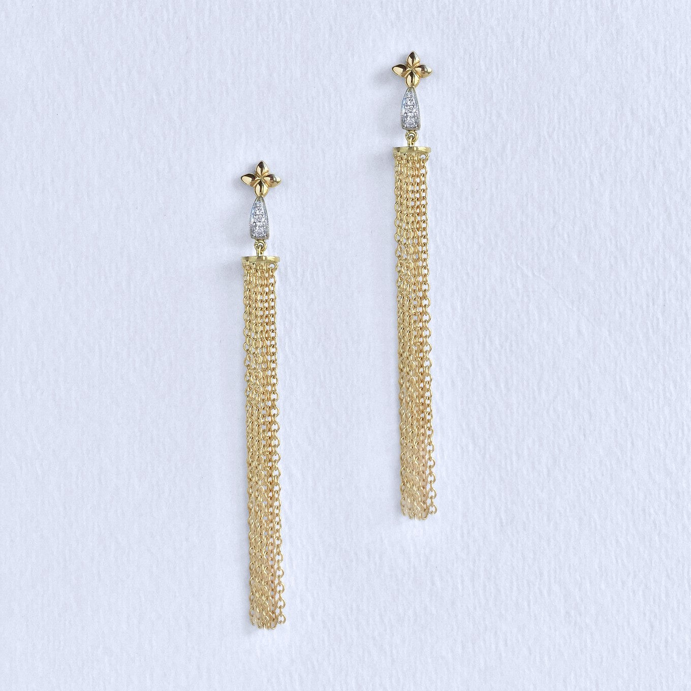"""ALLEGRA"" TASSEL EARRINGS IN YELLOW GOLD WITH DIAMONDS"