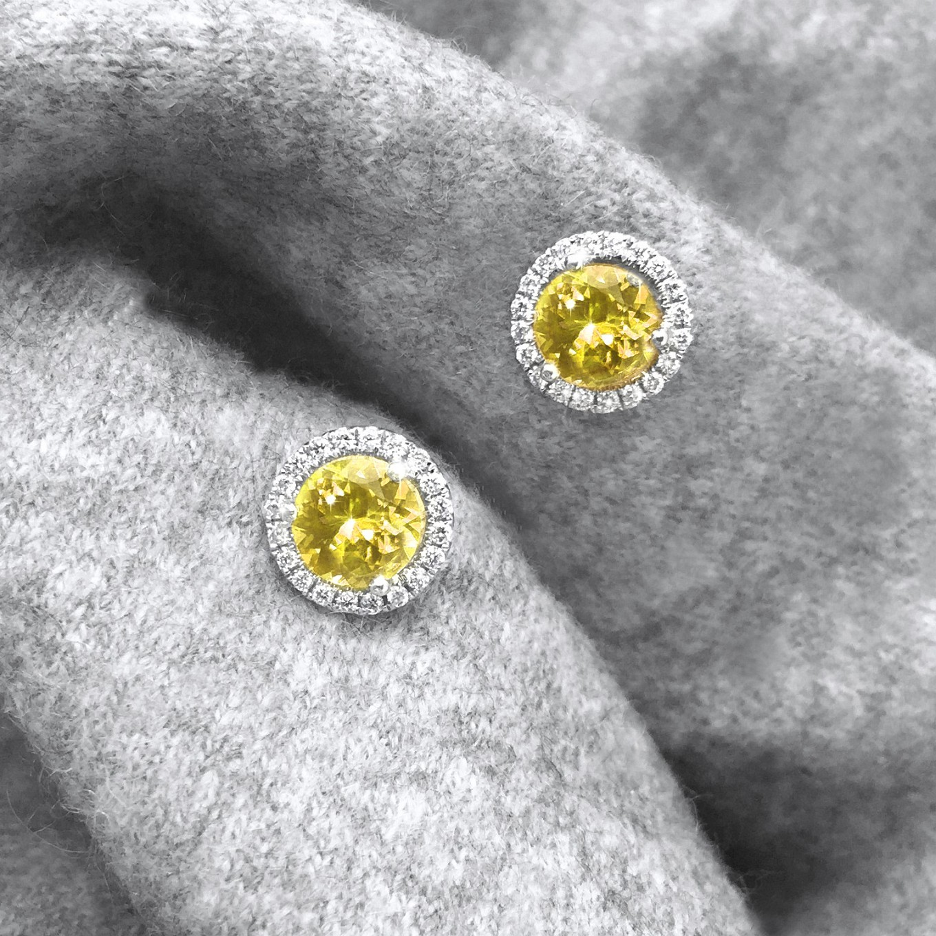 BRILLIANT CUT YELLOW SAPPHIRE & DIAMOND STUDS