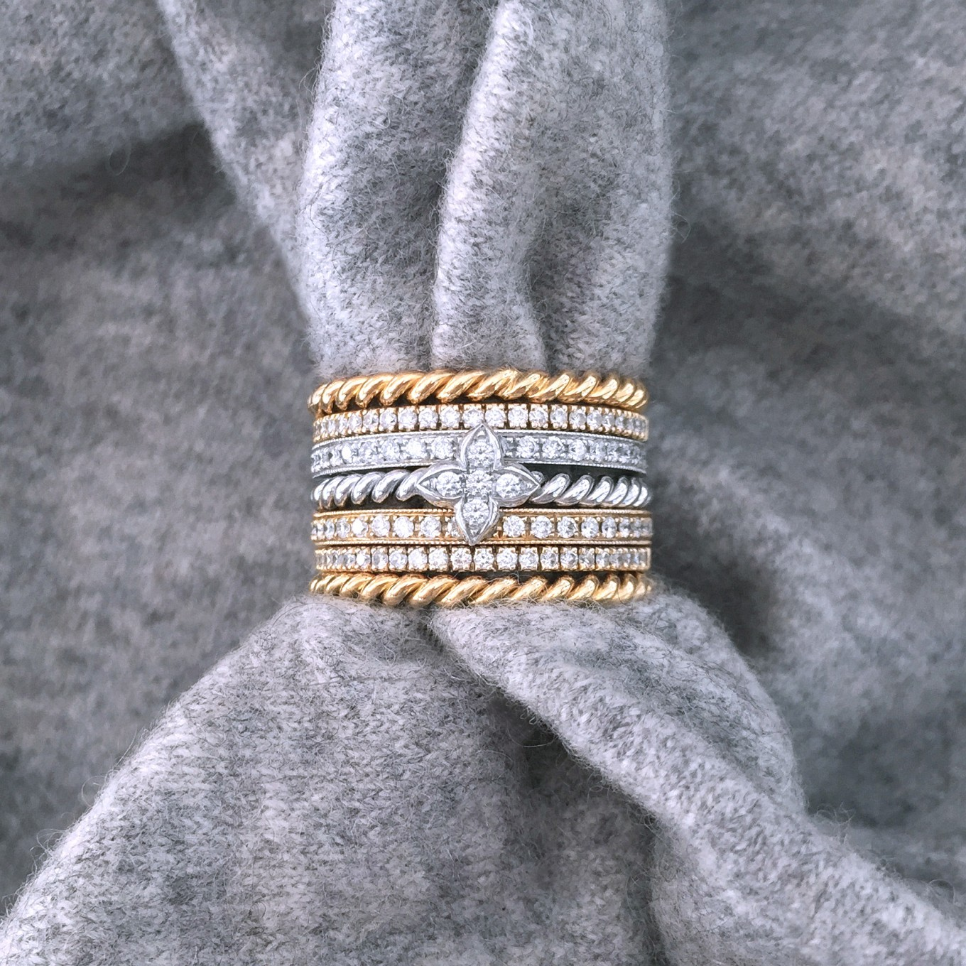 BRAIDED & DIAMOND ETERNITY BANDS IN YELLOW & WHITE GOLD