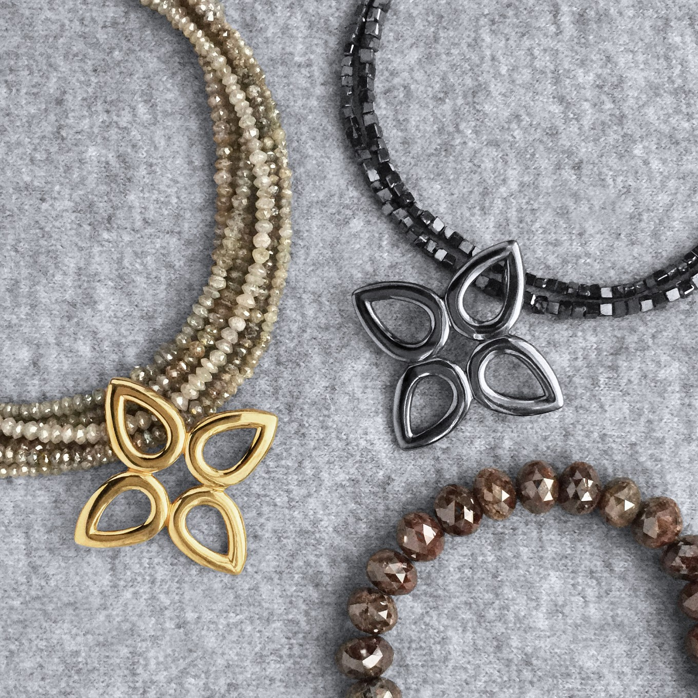 BROWN, BLACK & CHAMPAGNE FANCY COLOURED FACETED DIAMOND NECKLACES SHOWN WITH SEVILLA MOTIFS<br/>PRICE ON REQUEST