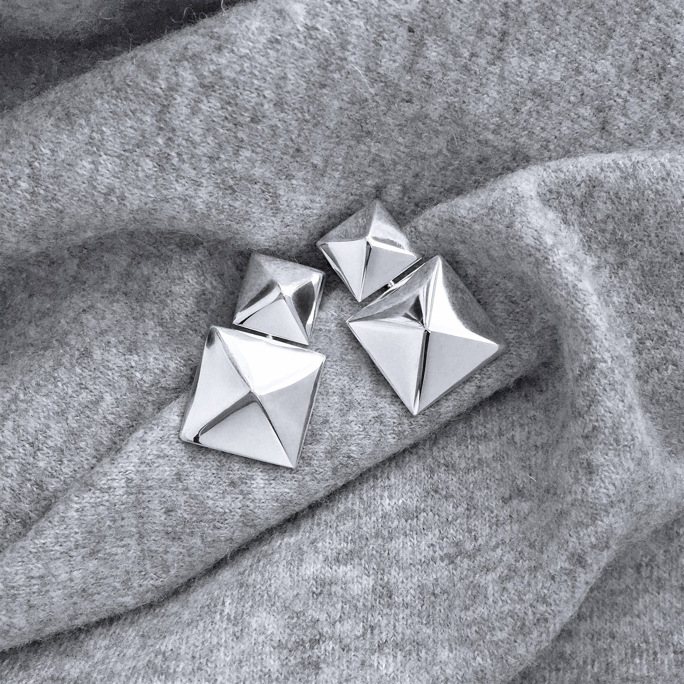 G SERIES DOUBLE DROP PYRAMID EARRINGS IN STERLING SILVER