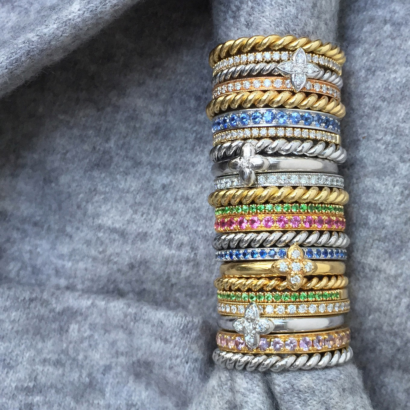 GEMSTONE, DIAMOND & BRAIDED BANDS IN STERLING SILVER, WHITE GOLD & YELLOW GOLD