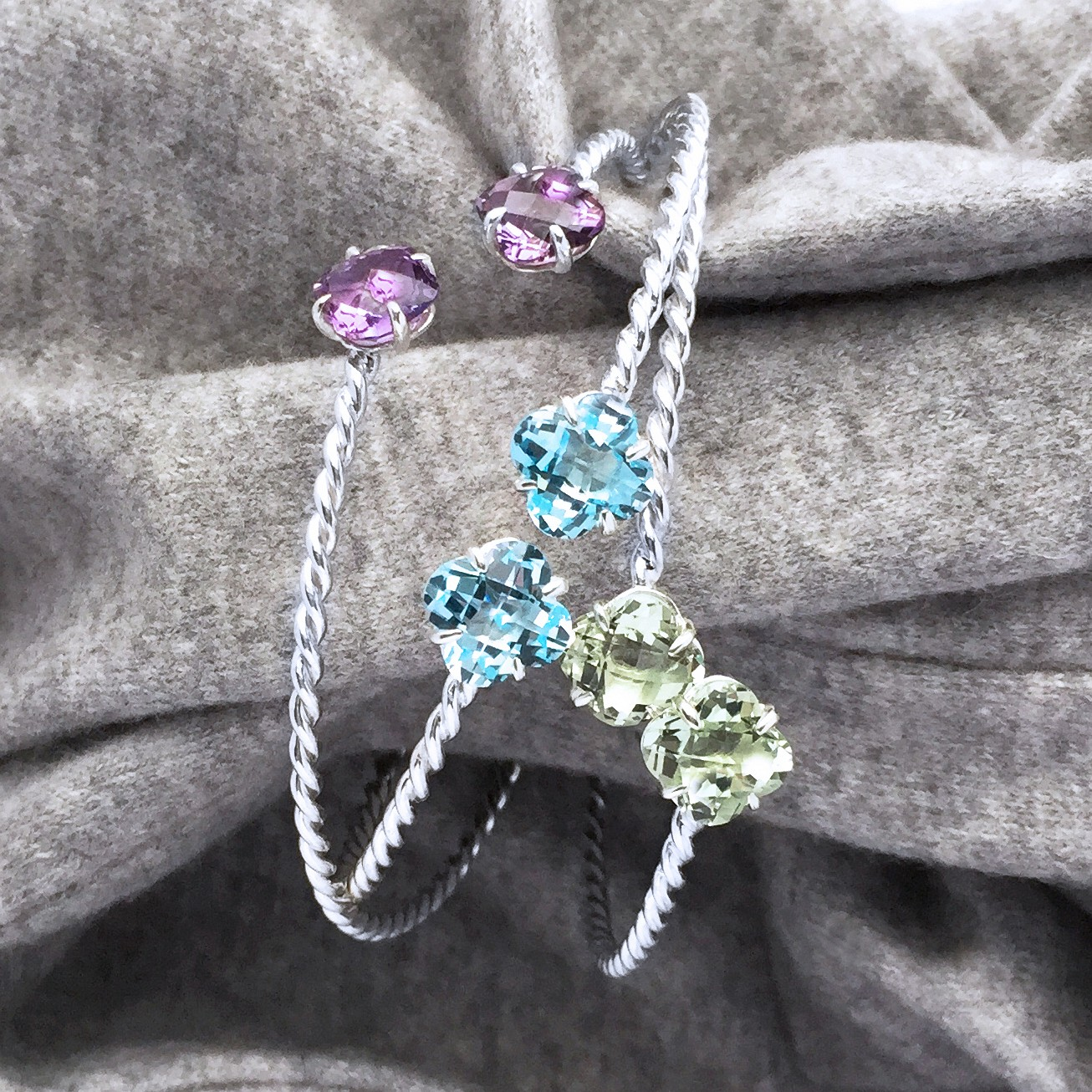 AMETHYST, BLUE TOPAZ & GREEN AMETHYST BRAIDED BANGLES IN STERLING SILVER