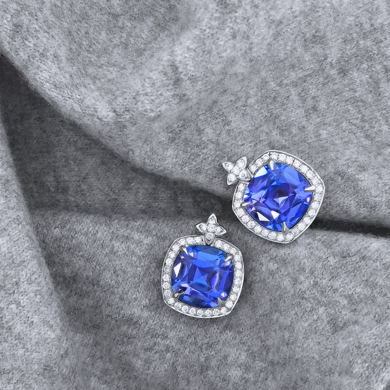 TANZANITE CUSHION CUT & DIAMOND EARRINGS