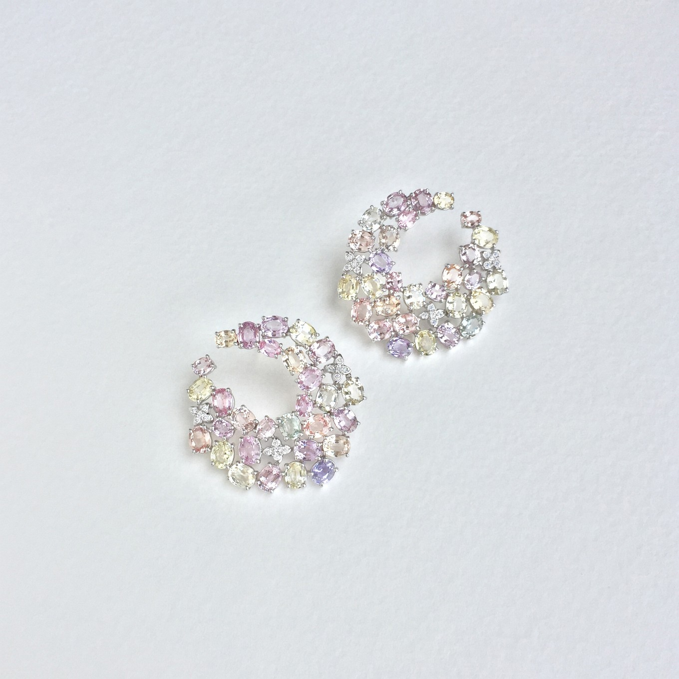 "OVAL PASTEL MULTICOLOURED SAPPHIRE & DIAMOND ""SWIRL"" EARRINGS IN WHITE GOLD   PRICE ON REQUEST"