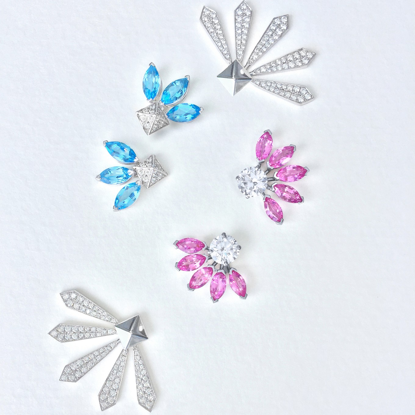 "G SERIES ""FLARE""  EARRING JACKETS & STUDS IN DIAMOND, BLUE TOPAZ & PINK SAPPHIRESTUDS - FLARE JACKETS"