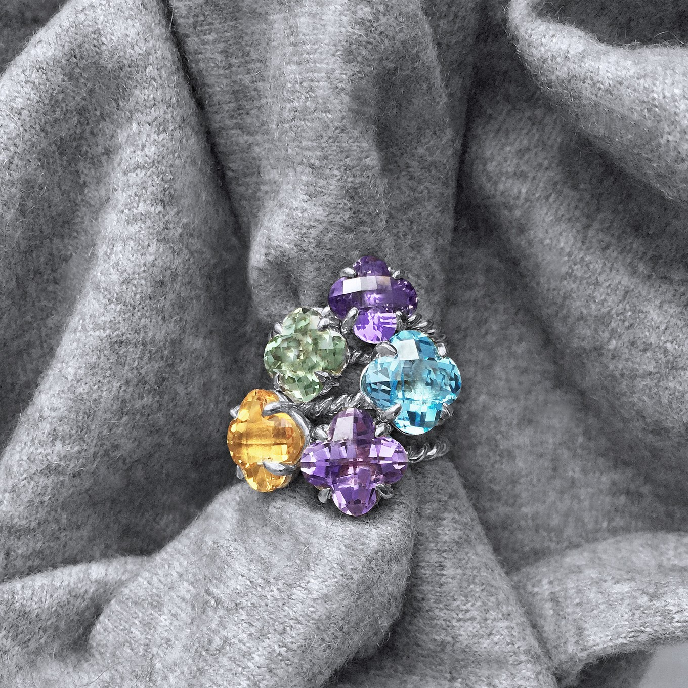 CLOVER CUT BRAIDED RINGS IN BLUE TOPAZ, AMETHYST, GREEN AMETHYST & CITRINE IN STERLING SILVERIN 18 K GOLD