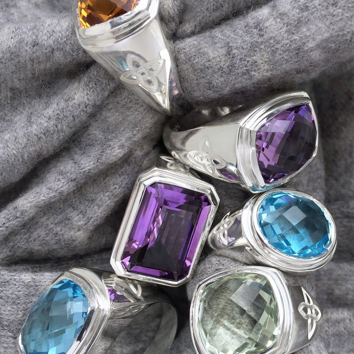 """ALLEGRA"" SINGLE STONE RINGS IN CITRINE, AMETHYST, BLUE TOPAZ & GREEN AMETHYST IN STERLINGIN YELLOW & WHITE GOLD"