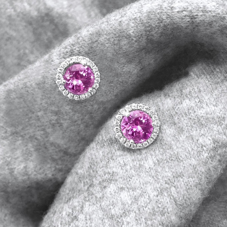 PINK SAPPHIRE & DIAMOND STUDS
