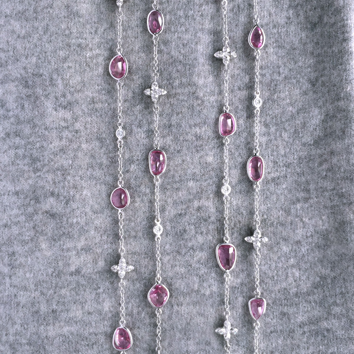 "32 INCH  ROSECUT PINK SAPPHIRE & DIAMOND SEVILLA MOTIF NECKLACE<br/>IN 16"" CHOKER LENGTH"