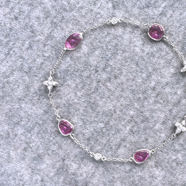 ROSECUT PINK SAPPHIRE & DIAMOND SEVILLA MOTIF BRACELET