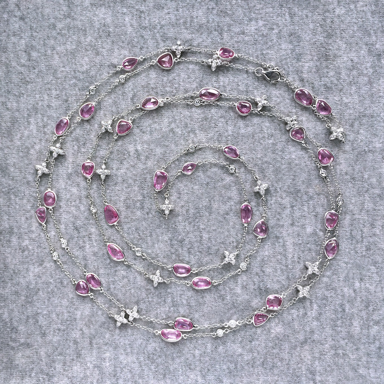 ROSECUT PINK SAPPHIRE & DIAMOND SEVILLA MOTIF NECKLACE