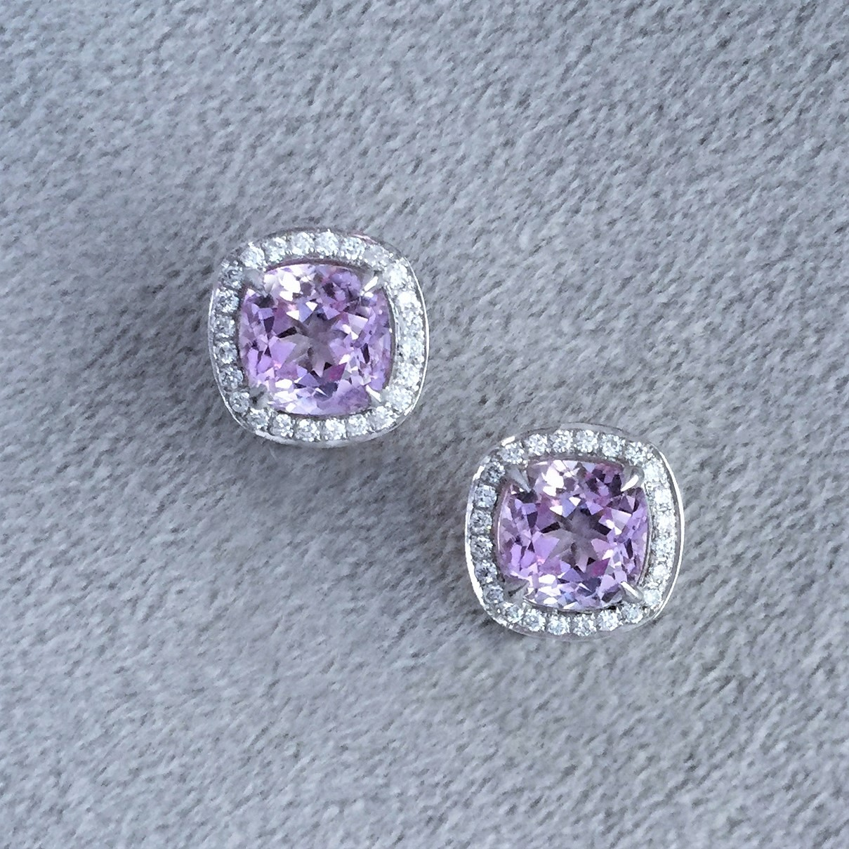 Cushion cut kunzite & diamond clip earrings in white gold