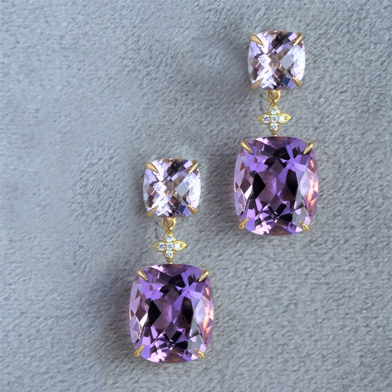 Cushion shaped & oval amethyst earrings with detachable drops in   yellow gold & diamonds