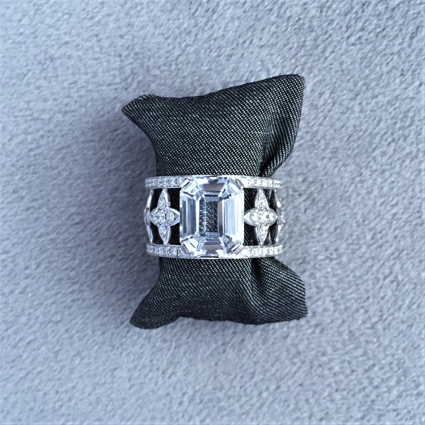 Emerald cut white sapphire & diamond sevilla ring in white gold