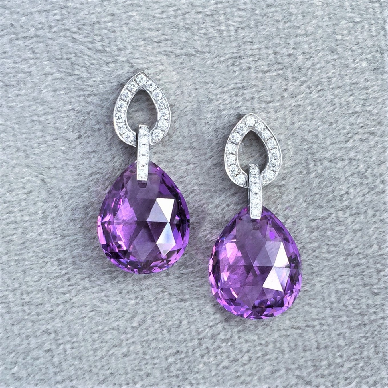 Pear shape briolette amethyst & diamond frame earrings in white gold
