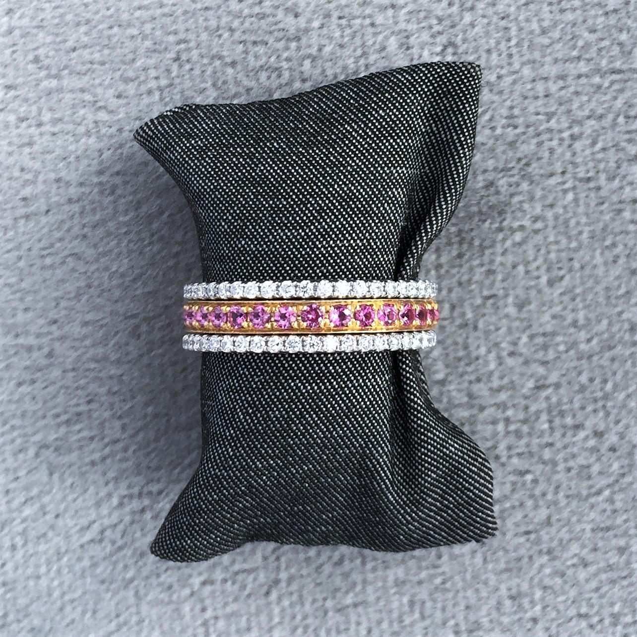 Pink sapphire & diamond eternity bands