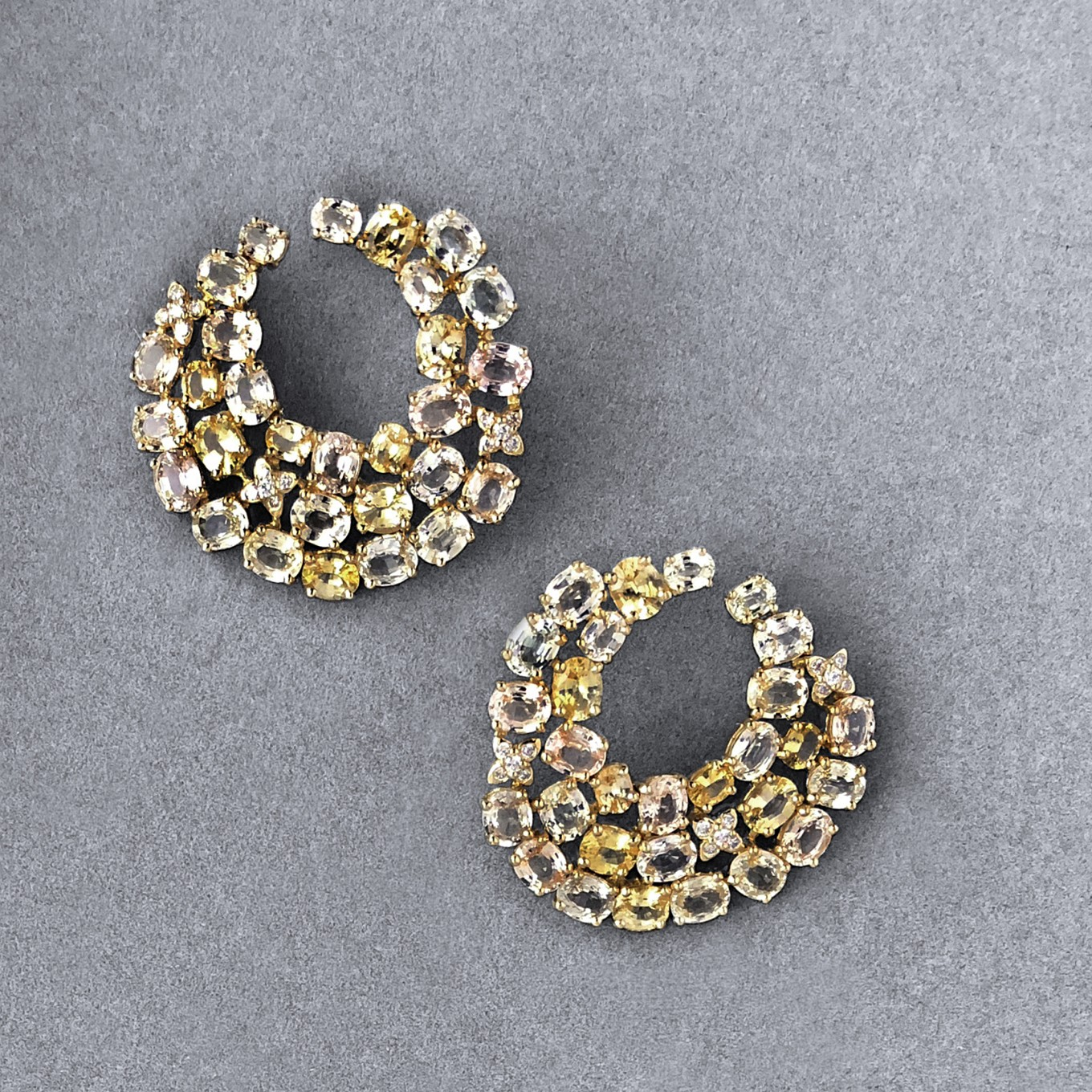 "YELLOW SAPPHIRE & DIAMOND ""SWIRL"" EARRINGS"